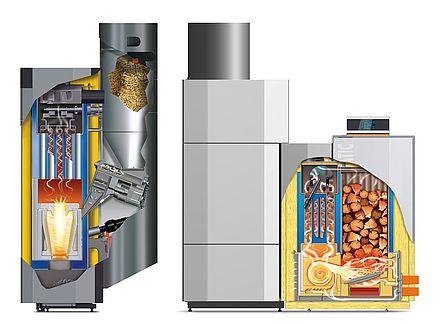 Schnittgrafik Vario Scheitholz-/Pellets-Kombinationsanlage 20/30 kW
