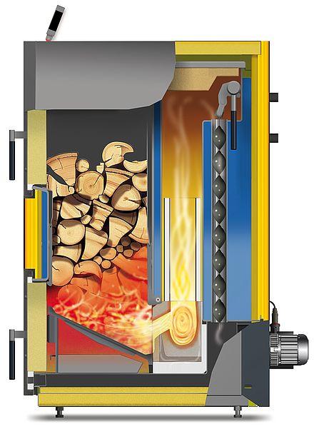 Schnittgrafik Biosmart Scheitholzheizung 14/22 kW